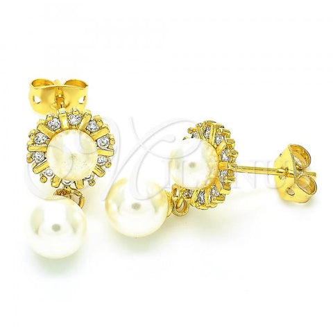 Gold Layered 02.156.0403 Dangle Earring, Ball Design, with Ivory Pearl and White Cubic Zirconia, Polished Finish, Golden Tone