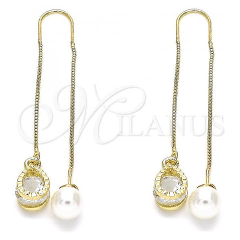 Gold Layered 02.351.0093 Threader Earring, Teardrop Design, with White Cubic Zirconia, Polished Finish, Golden Tone