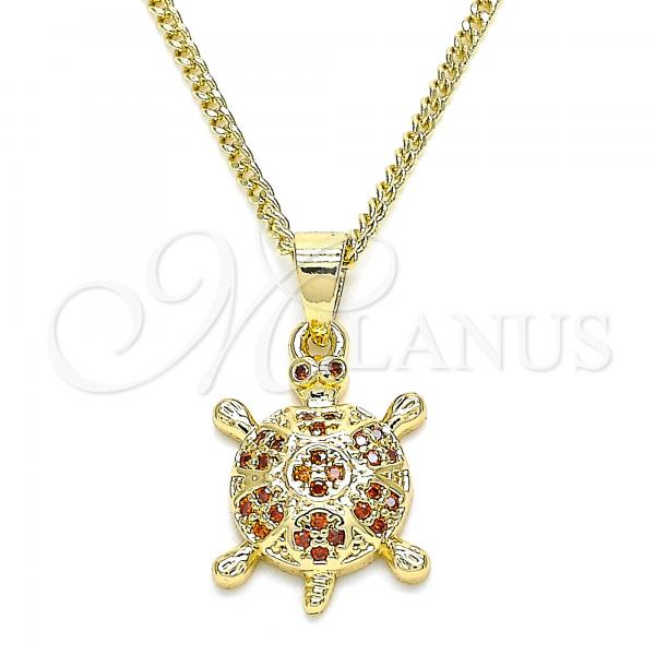 Gold Layered 04.344.0027.1.20 Pendant Necklace, Turtle Design, with Garnet Micro Pave, Polished Finish, Golden Tone
