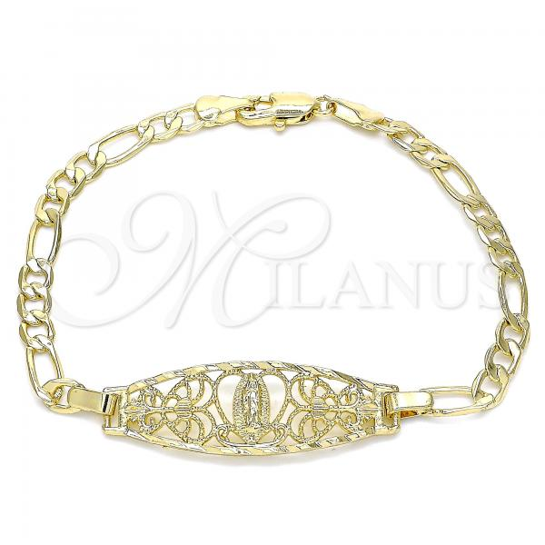 Gold Layered 03.351.0089.08 Fancy Bracelet, Guadalupe and Heart Design, Polished Finish, Golden Tone