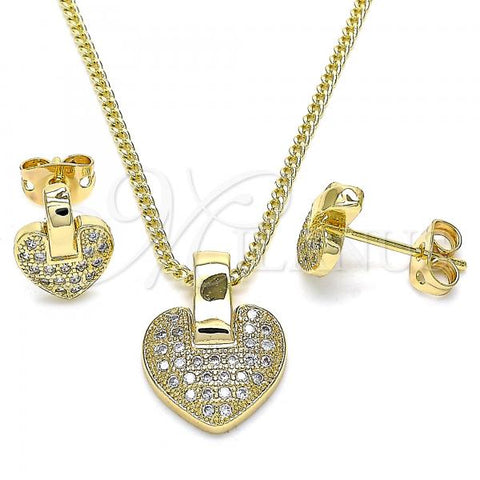 Gold Layered 10.342.0032 Earring and Pendant Adult Set, Heart Design, with White Micro Pave, Polished Finish, Golden Tone