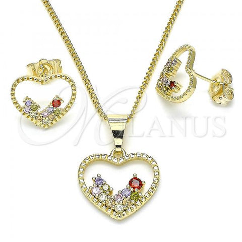 Gold Layered 10.284.0010.2 Earring and Pendant Adult Set, Heart Design, with Multicolor Micro Pave, Polished Finish, Golden Tone
