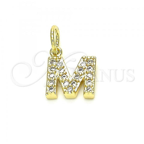 Gold Layered 05.341.0039 Fancy Pendant, Initials Design, with White Cubic Zirconia, Polished Finish, Golden Tone