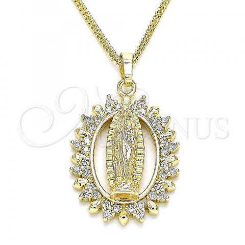 Gold Layered 04.284.0054.20 Pendant Necklace, Guadalupe Design, with White Micro Pave, Polished Finish, Golden Tone
