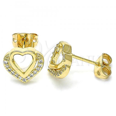 Gold Layered 02.342.0097 Stud Earring, Heart Design, with White Micro Pave, Polished Finish, Golden Tone