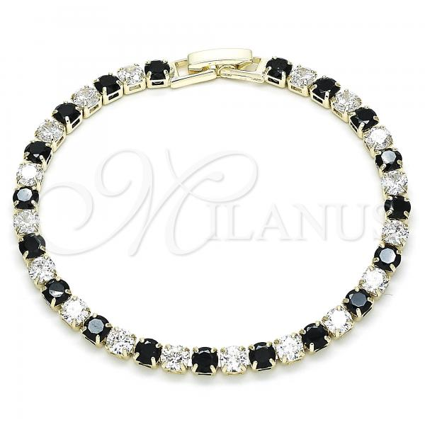 Gold Layered 03.130.0002.2.07 Tennis Bracelet, with Black and White Cubic Zirconia, Polished Finish, Golden Tone