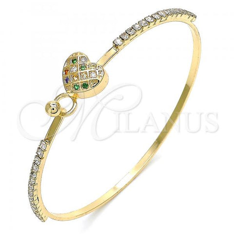 Gold Layered 07.193.0022.1.04 Individual Bangle, Heart Design, with Multicolor Micro Pave and White Crystal, Polished Finish, Golden Tone (02 MM Thickness, Size 4 - 2.25 Diameter)