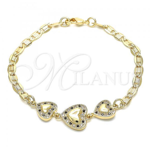 Gold Layered 03.233.0035.08 Fancy Bracelet, Heart Design, with Black and White Cubic Zirconia, Polished Finish, Golden Tone