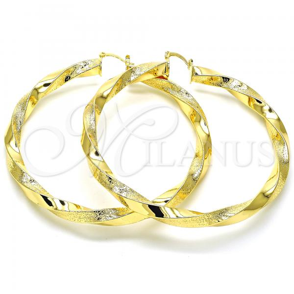 Gold Layered 02.170.0265.80 Extra Large Hoop, Twist and Hollow Design, Matte Finish, Golden Tone