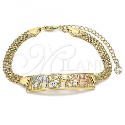 Gold Layered 03.380.0020.08 Fancy Bracelet, Elephant Design, with White Crystal, Polished Finish, Tri Tone