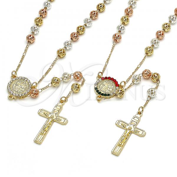 Gold Layered Medium Rosary, San Benito and Crucifix Design, with Crystal, Tri Tone