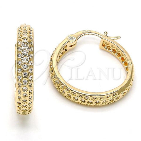 Gold Layered Small Hoop, with Cubic Zirconia, Golden Tone