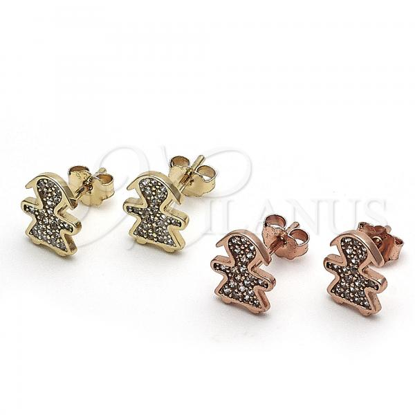 Sterling Silver Stud Earring, Little Girl Design, with Micro Pave, Golden Tone
