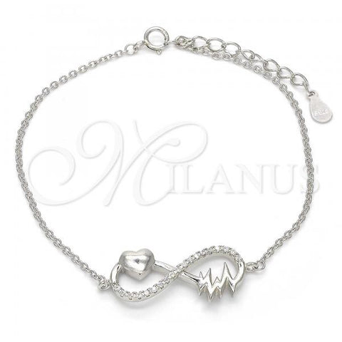 Sterling Silver 03.336.0014.07 Fancy Bracelet, Infinite and Heart Design, with White Crystal, Polished Finish, Rhodium Tone