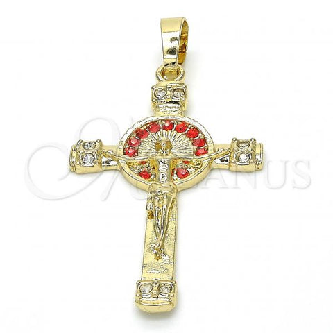Gold Layered Religious Pendant, Crucifix Design, with Crystal, Golden Tone