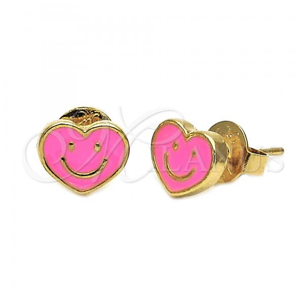 Gold Layered 02.64.0237 Stud Earring, Heart and Smile Design, Pink Enamel Finish, Golden Tone
