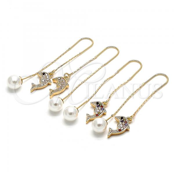 Gold Layered Long Earring, Dolphin Design, with Cubic Zirconia, Golden Tone