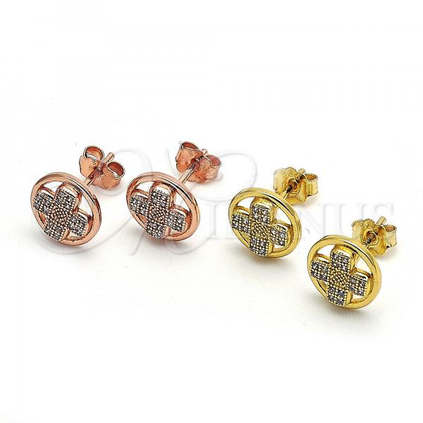 Sterling Silver Stud Earring, with Micro Pave, Golden Tone
