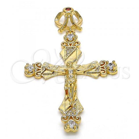 Gold Layered 05.253.0048 Religious Pendant, Crucifix Design, with Garnet and White Cubic Zirconia, Polished Finish, Golden Tone
