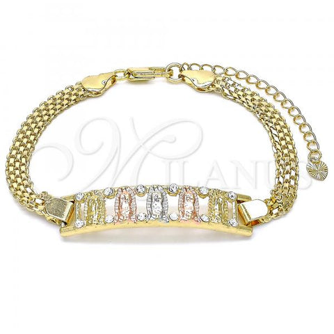 Gold Layered 03.380.0022.08 Fancy Bracelet, Guadalupe Design, with White Crystal, Polished Finish, Tri Tone