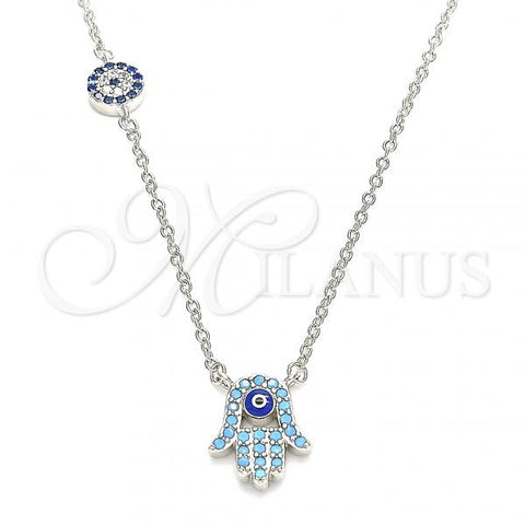 Sterling Silver 04.336.0222.16 Fancy Necklace, Hand of God and Greek Eye Design, with Turquoise Cubic Zirconia and Sapphire Blue Micro Pave, Blue Enamel Finish, Rhodium Tone