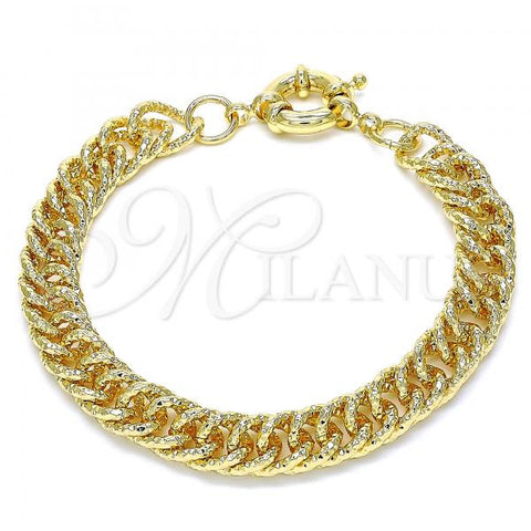 Gold Layered 03.319.0006.08 Basic Bracelet, Diamond Cutting Finish, Golden Tone