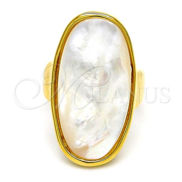 Stainless Steel Multi Stone Ring, with Mother of Pearl, Golden Tone