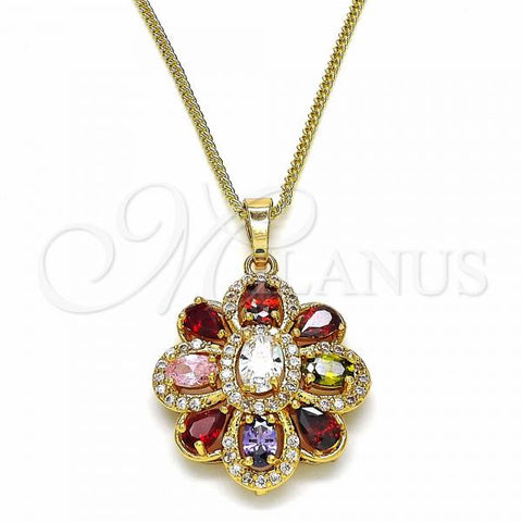 Gold Layered 04.284.0016.20 Fancy Necklace, Flower and Teardrop Design, with Multicolor Cubic Zirconia, Polished Finish, Golden Tone