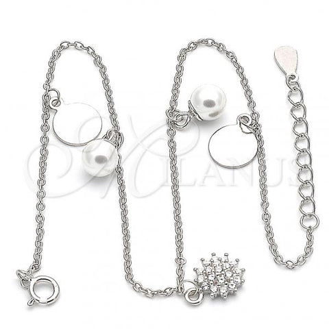 Sterling Silver 03.336.0052.10 Charm Anklet , with White Cubic Zirconia and Ivory Pearl, Polished Finish, Rhodium Tone