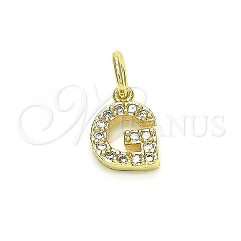 Gold Layered 05.341.0027 Fancy Pendant, Initials Design, with White Cubic Zirconia, Polished Finish, Golden Tone