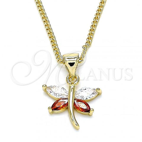 Gold Layered 04.213.0208.24 Pendant Necklace, Dragon-Fly Design, with Garnet and White Cubic Zirconia, Polished Finish, Golden Tone