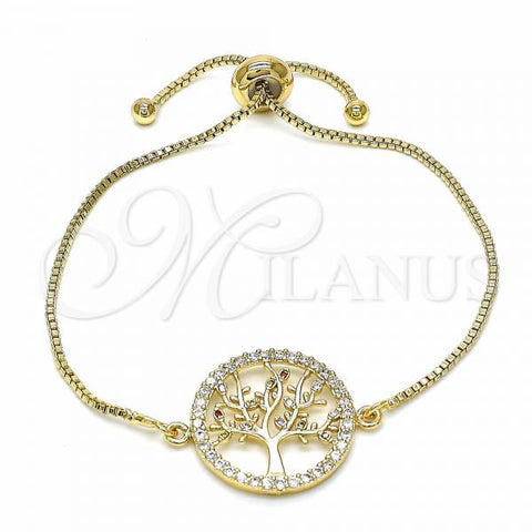 Gold Layered 03.316.0068.09 Fancy Bracelet, Tree Design, with White Cubic Zirconia and Multicolor Micro Pave, Polished Finish, Golden Tone