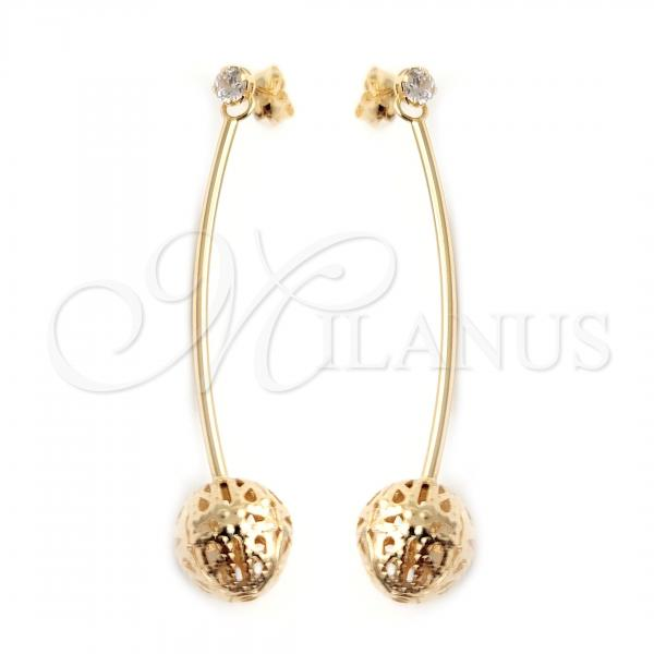 Gold Layered 02.58.0001 Long Earring, Ball Design, Polished Finish, Golden Tone