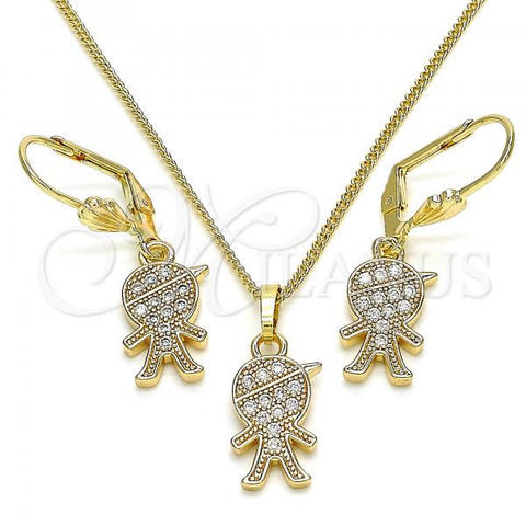 Gold Layered 10.210.0143 Earring and Pendant Adult Set, Little Boy Design, with White Micro Pave, Polished Finish, Golden Tone