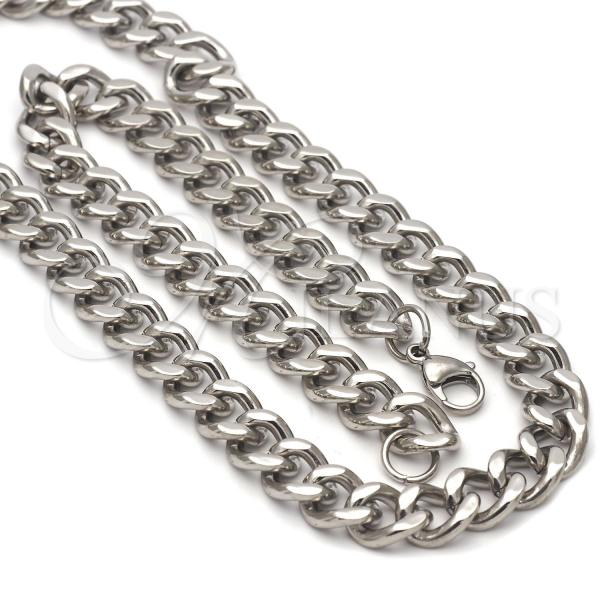 Stainless Steel 04.113.1737 Necklace and Bracelet, Twist Design, Steel Tone