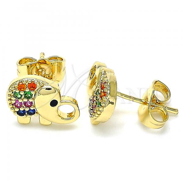 Gold Layered 02.210.0411.1 Stud Earring, Elephant Design, with Multicolor Micro Pave, Polished Finish, Golden Tone