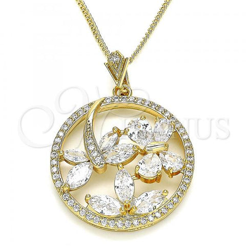 Gold Layered 04.283.0022.20 Pendant Necklace, Butterfly and Dragon-Fly Design, with White Cubic Zirconia, Polished Finish, Golden Tone