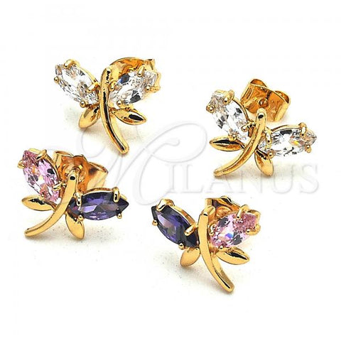 Gold Layered Stud Earring, Dragon-Fly Design, with Cubic Zirconia, Golden Tone