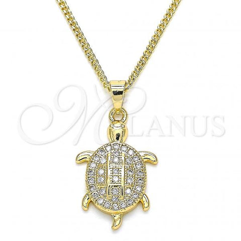 Gold Layered 04.344.0026.20 Pendant Necklace, Turtle Design, with White Micro Pave, Polished Finish, Golden Tone
