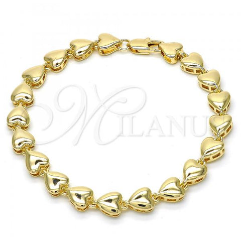 Gold Layered 03.210.0060.07 Fancy Bracelet, Heart Design, Polished Finish, Golden Tone