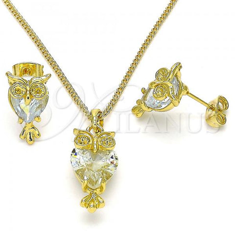 Gold Layered 10.379.0008 Earring and Pendant Adult Set, Owl Design, with White Crystal, Polished Finish, Golden Tone