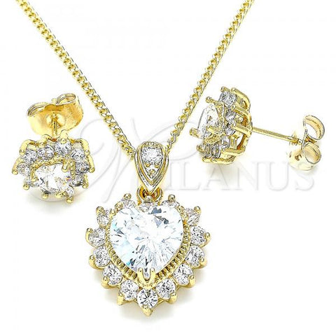 Gold Layered 10.346.0002 Earring and Pendant Adult Set, Heart Design, with White Cubic Zirconia, Polished Finish, Golden Tone