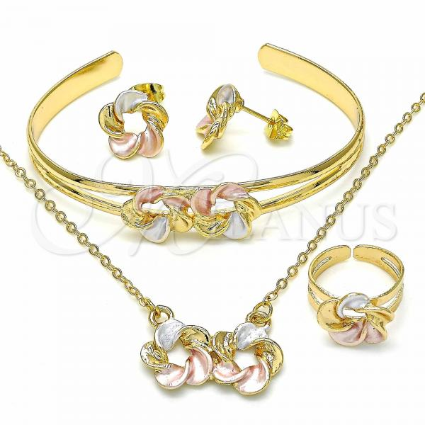 Gold Layered 06.361.0017 Necklace, Bracelet, Earring and Ring, Flower Design, Polished Finish, Tri Tone