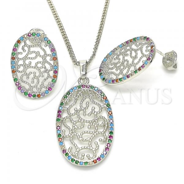 Rhodium Plated 10.233.0038.4 Earring and Pendant Adult Set, with Multicolor Cubic Zirconia, Polished Finish, Rhodium Tone