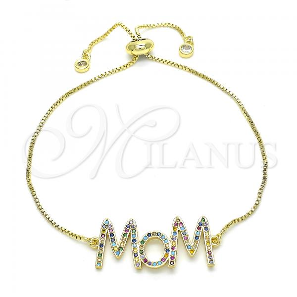 Gold Layered 03.368.0006.11 Fancy Bracelet, Mom Design, with Multicolor Cubic Zirconia, Polished Finish, Golden Tone