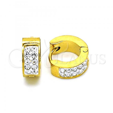 Stainless Steel 02.216.0054.10 Huggie Hoop, with White Crystal, Polished Finish, Golden Tone