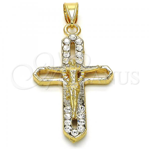 Gold Layered 05.253.0056 Religious Pendant, Crucifix Design, with White Crystal, Polished Finish, Golden Tone