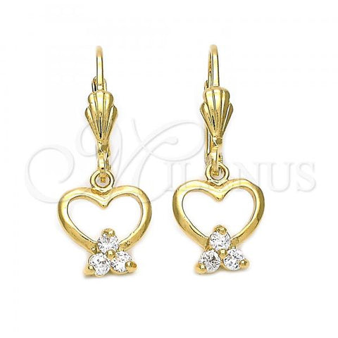 Gold Layered 5.070.006 Dangle Earring, Heart and Flower Design, with White Cubic Zirconia, Polished Finish, Golden Tone