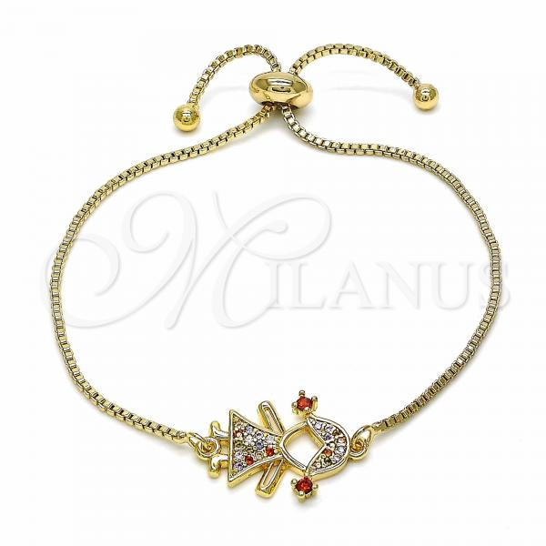Gold Layered 03.316.0018.1.09 Adjustable Bolo Bracelet, Little Girl Design, with Multicolor Cubic Zirconia, Polished Finish, Golden Tone