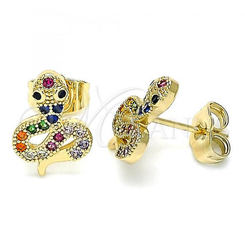 Gold Layered 02.210.0356.1 Stud Earring, Snake Design, with Multicolor Micro Pave, Polished Finish, Golden Tone